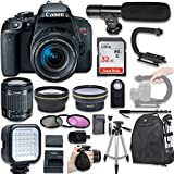 Canon EOS Rebel T7i DSLR Camera with Canon EF-S 18-55mm f/4-5.6 is STM Lens + Wide Angle Lens + 2X Telephoto Lens + LED Light + 32GB SD Memory Card + New Video Bundle