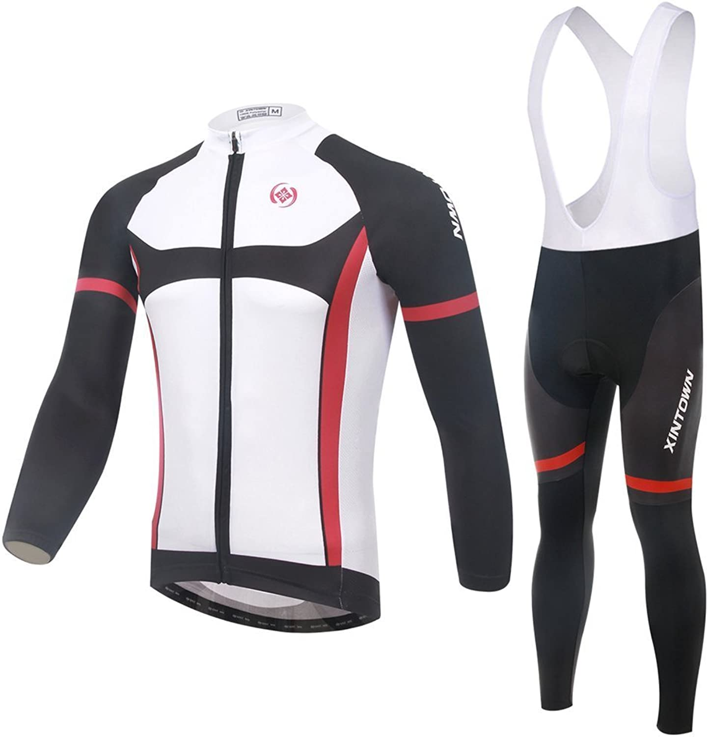BESYL Unisex Printed HighPerformance Mesh Cycling Clothing Suit, Breathable Long Sleeve Cycling Jersey and Bib Padded Pants Kit for Bicycle Bike Riding Biker (White Red Black)