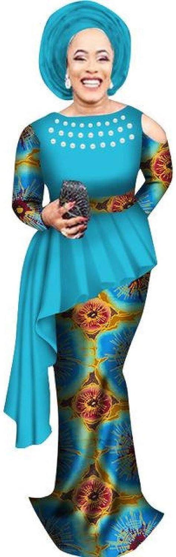 African Clothing TopSkirt Set for Women Dashiki Cotton Wax Print Plain X10978