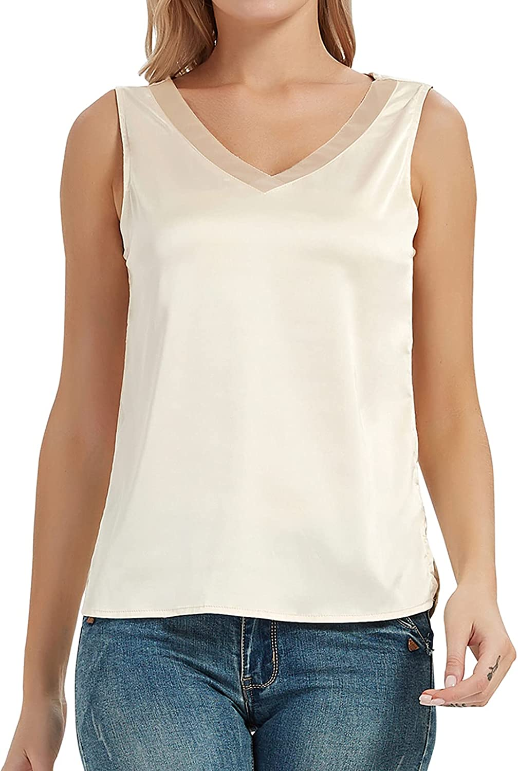 Miqieer Women's Silk Tank Top Sheer V Neck Satin Cami Shirts Casual Loose Fit Vest Sleeveles Blouse