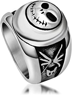 Yunsion Vintage Black Jack Ring 316L Stainless Steel Titanium Men Ring Cool Punk Fashion Jewelry Aging Treatment 1 Piece