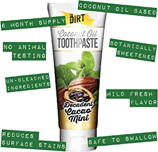 The Dirt All Natural Gluten & Fluoride Free Coconut & MCT Oil Toothpaste - Natural Teeth Whitening Botanically Sweetened, ...