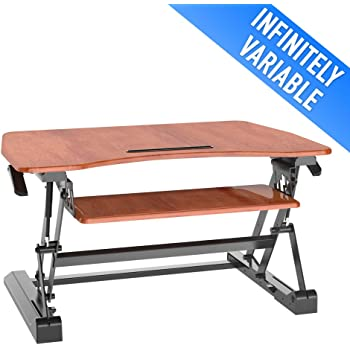 Sit to Stand Desk Adjustable Workstation with Smooth Straight Up and Down Movement - Cherry, Aeon 80005