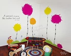 "Designer Playground Dr Seuss Inspired Trufulla Tree With Cotton Balls A person's a person no matter how small Vinyl Wall Decal (126""W X 81""H) K141 Pink Yellow Orange"