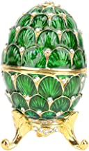 Trinket Box, Vintage Enameled Easter Egg Shaped Jewelry Organizer Box for Desk Decoration Gift Idea for Friends(Green)