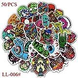 BLOUR 50 / pcs Skull Horror PVC Graffiti Sticker Colección de diseño Creativo clásico Regalo Impresión LL-006#