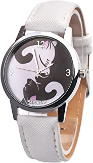 Sanwooden Boys Girls Cartoon Black White Cats Faux Leather Quartz Analog Wrist Watch