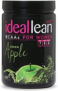 IdealLean BCAA For Women ‐ Amino Acids for Women | Maximize Fat Burn & Lean Muscle Growth | Aids Weight Loss | Post Workout Recovery Drink | 0 Calories, 0 Sugars, 0 Carbs | Green Apple | 12 oz.