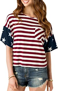 For G and PL Women's American Flag July 4th Short Sleeve Tops