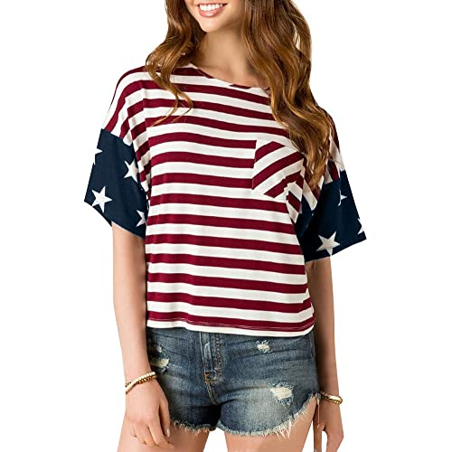 447070b2747cb For G and PL Women s American Flag July 4th Short Sleeve Tops