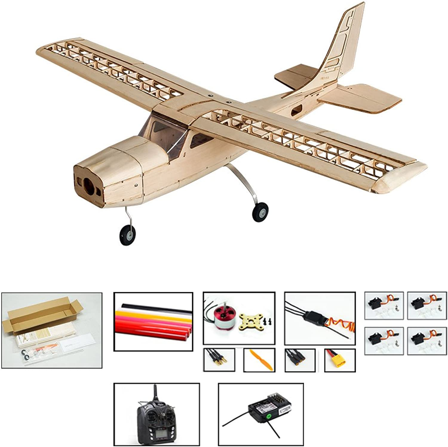 Dancing Wings Hobby S16 Balsa wood Electric Training Airplane CESSNA 150 Kit 1000mm Wingspan need to built Airplane Basswood 4CH Radio Controlled Laser-cutting Aeroplane Un-assembled (S1604B-L2)