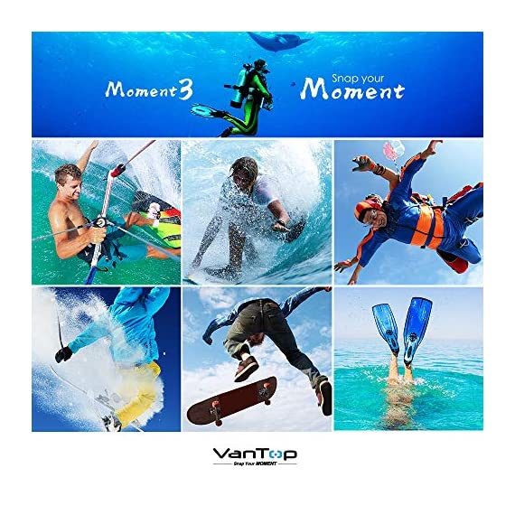 VanTop Moment 3 4K Action Camera w/Gopro Compatible Carrying Case,Remote Control,16MP Sony Sensor,30M Waterproof Camera… 5 【Stunning 4K Technique & Superb Sony Sensor】Optional 4K@30fps, 2.7K@30fps,1080P@60fps,720P@120fps resolutions, high sensitive Sony sensor with improved image focusing, processing speeds. Moment 3 action camera empowers you to capture any memorable moment without any compromise. Stunning 4K video and 16MP photos in Single, Burst and Time Lapse modes. 【Irresistible & Indispensable Accessories】Exclusively customized carrying case for the action camera and accessories: compatible with all Gopro cameras including Gopro HERO 7, Gopro HERO 6. Compact case to keep your action camera-Moment3 and accessories safe, protected and organized. Selected 21 gopro compatible accessories awaits your discovery. (SD Card excluded) 【170°Ultra-Wide Lens & Multiple Modes】Discover a big big world your eyes can reach with the intergraded 170 degrees ultra-wide lens. Burst Shooting, loop recording makes it possible to find the perfect moment afterwards. Time-lapse and slow motion exceed human vision with surprising fun.