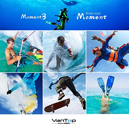 VanTop Moment 3 4K Action Camera w/Gopro Compatible Carrying Case,Remote Control,16MP Sony Sensor,30M Waterproof Camera w/Gopro Compatible Accessories,2 Batteries,170° Ultra Wide Angle
