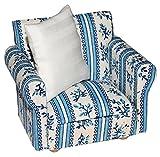 Unbekannt Miniatur Sessel mit Kissen - für Puppenstube Maßstab 1:12 - blau & weiß Gemustert -...