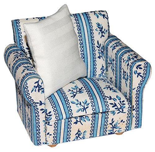 alles-meine.de GmbH Miniatur Sessel mit Kissen - für Puppenstube Maßstab 1:12 - blau & weiß Gemustert - Puppenhaus Puppenhausmöbel Sofasessel Wohnzimmer Klein - für Wohnzimmerlan..
