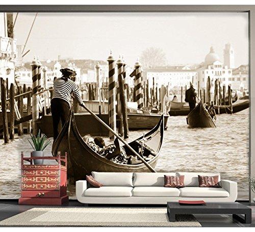 WH-PORP Grote 3D Venetië Stad Papel Muren Natuurlijke Landschap Zwart/Wit 3D Fotobehang voor Woonkamer Achtergrond 3D 128cmx100cm