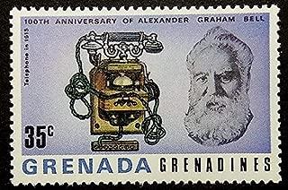 Telephone in 1915 -100th Anniversary Of Alexander Graham Bell -Framed Postage Stamp Art 17242