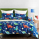 Luofanfei Kinder Kinderbettwäsche Jungen Tiere Bettwäsche 135 x 200 2 Teilig Dinosaurier Blau...