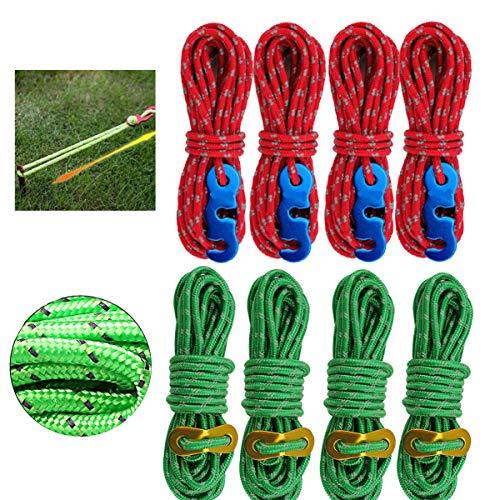 dancepandas Reflexiva Cuerdas Vientos Tensores 8PCS 4mm Cerdas de Tienda de Campaña con Ajustador de Cuerda Cuerda Nylon Rojo Verde Cuerdas Tensoras para Tiendas de Campaña Toldo al Aire Libre - 4M