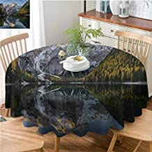 ScottDecor Reusable Round Tablecloth Nature,ICY Projecting Mountain Lake Printed Tablecloth Diameter 60