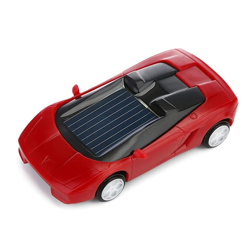 Gbell Solar Powered Mini Racer Car Toy - Solar Energy Vehicle Educational Gadget Gift for Toddlers Kids Baby Boys Girls,7x3x2CM,Assorted Red Black White Yellow