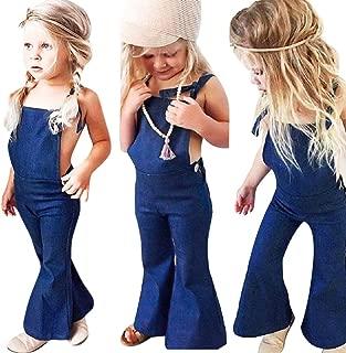 Baby Girls Romper Trousers, Auwer Little Kids Suspender Overall Flared Denim Jeans Jumpsuit Bell Elastic Blue Pants (Blue, 4T)