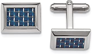 Lex & Lu Chisel Stainless Steel Polished w/Blue Carbon Fiber Cuff Links