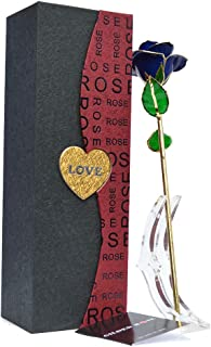 Unite Stone Artificial Rose Long Stem with Holder for Valentine's Day Mother's Day Anniversary Birthday Party Decor-Blue