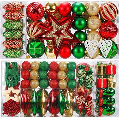KOGLEE Weihnachtskugeln 90 Stück - Christbaumkugeln Baumschmuck,Weihnachtsbaumschmuck und -schmuck, Baubles,Tree Top Star, Frohe Weihnachten (Rot und Grün)