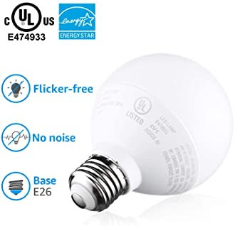 TORCHSTAR G25 Globe led Bulb Dimmable, Vanity Light, 6W (40W Eqv.), UL-Listed, Daylight 5000K for Makeup Mirror, Pend...