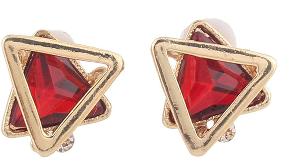 Gold Plated Rhinestone Crystal Double Triangle Clip on Earrings
