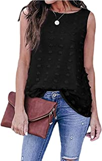 SELILALI Women's Casual Tank Top Sleeveless Loose Shirts Blouse Summer Round Neck Pom Pom Shirt Tops
