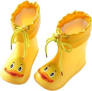 Sikye Kids' Waterproof Sneaker Cartoon Duck Rubber Rain Boot Warm Shoe Velvet for Toddler Boys Girls (Yellow 3, 4-4.5T)