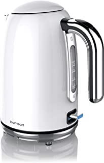 Premium Electric Kettle | Stainless Steel Teapot Water Boiler | Homeart Retro Style Tea Kettle by MyProducts | 1.7L / 1.8 Quart / 7 Cup (Pearl White)
