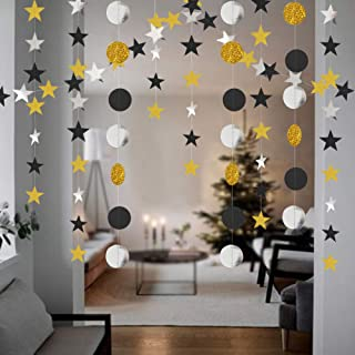 Okloy Glitter Star and Dot Garland, 2 Pack Silver Gold Black Multi-Color Bling Bunting Banner Hanging Glittery Decoration, Decor for Birthday Party Baby Shower Christmas Weddings Kids Room