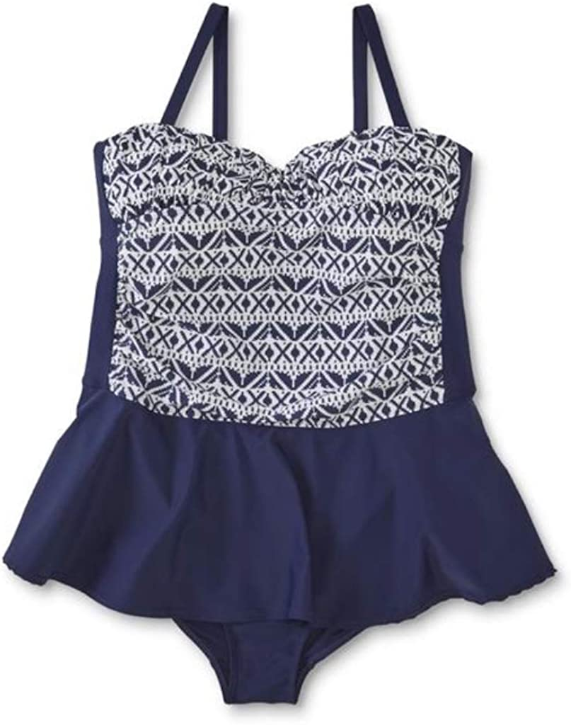 Tropical Escape Women's Plus Skirted Swimsuit - Geometric