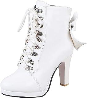 9fd799c32dfdd3 YE Noeud Papillon Rockabilly Chaussure Bottes Courtes Ankle Boots Bottine  Femme Plateforme Talons Hauts Lacets Bloc