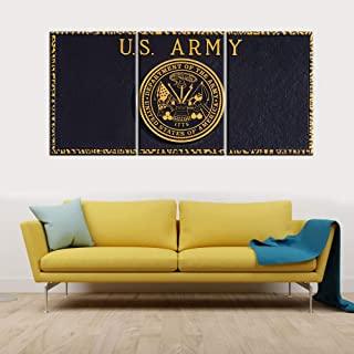 3 Piece Canvas Wall Art US Army Monument Pictures American Patriotic Paintings for Living Room Yellow Black Artwork Contemporary Home Decorations Framed Ready to Hang Posters and Prints(48''Wx24''H)