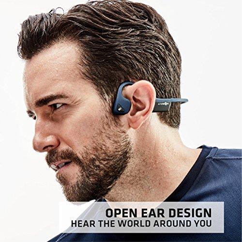 AfterShokz Trekz Air - Écouteurs sans Fil à Conduction Osseuse (Oreilles Libres) Casque Bluetooth pour Sport Course avec 2 Étuis de Protection, Bleu