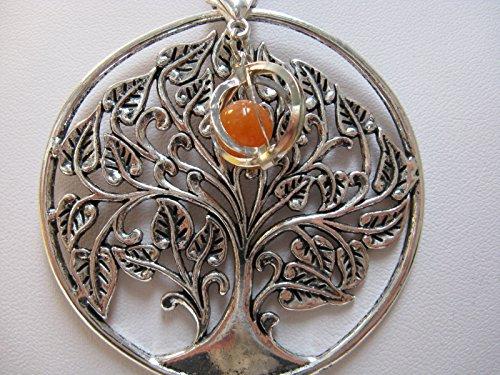 Natural mente – Pendentif Arbre de Vie, la pierre + 1 Chakra, pendentif pour collier, amulette, arbre de vie, avec bandeau plastique, pierres précieuses, n ° 130