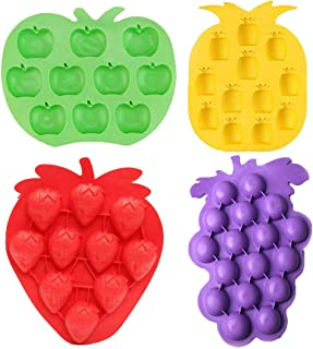 Fruits Series Silicone Fondant Mold Candy Mold Strawberries Pineapples Apples Grapes Mold for Sugarcraft Cake Decoration Candy Mold Cupcake Topper Summer Ice Cube Tray (Set of 4)