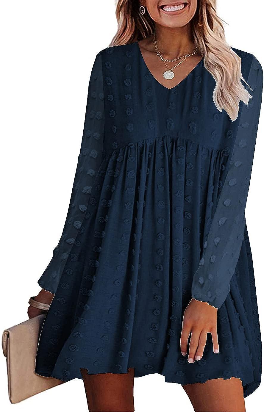 KIRUNDO Women's Dresses Long Sleeves Short Mini Dress V Neck Flowy Casual Swiss Dot Loose Fit Babydoll Dress