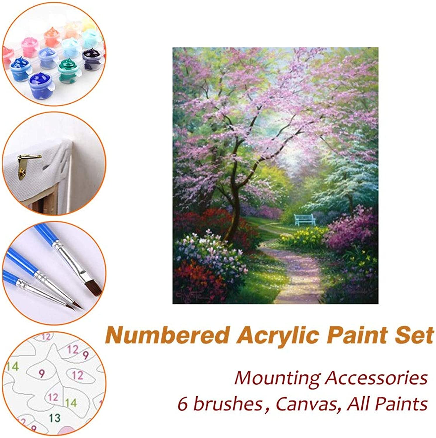 Puzzle House Paint Max Acrylic Oil Painting Paint By Numbers Kits Sets With Frame For Kids Adults Beginner Artist, Quiet Forest Path DIY Wall Art Picture Photography Brush Supplies 601