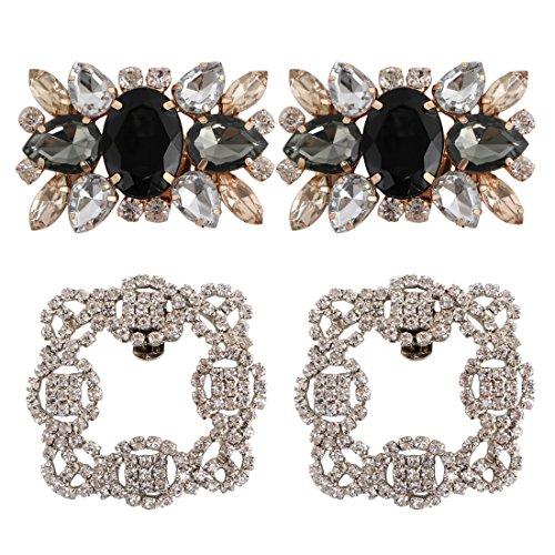 kilofly 2 Pairs Elegant Rhinestone Crystal Metal Shoe Clips Wedding Party Pack, 2.1 inch, Black