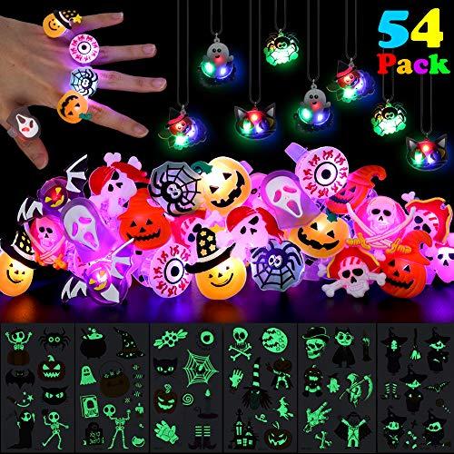 ThinkMax 48 Pcs Anillos LED Collares con 6 Tatuajes de Halloween, Suministros para Fiestas Infantiles para Fiestas de Halloween, Relleno de Bolsa de Regalos