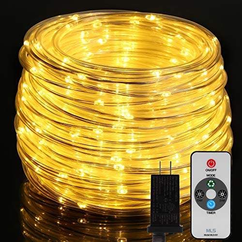 66ft LED Rope Lights Outdoor, OxyLED 300 LED String Lights with Remote, IP65 Waterproof Connectable Tube Lights Plug-in, 7 Modes Rope Lights for Bedroom, Patio Decor, Wedding (Warm White)