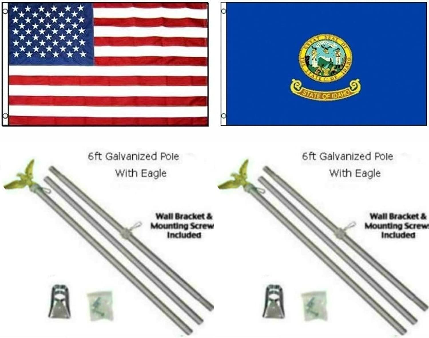 AES 3x5 3'x5' USA American w State of Idaho Flag w Two 6' Galvanized Flagpole Pole Kits Eagle Topper