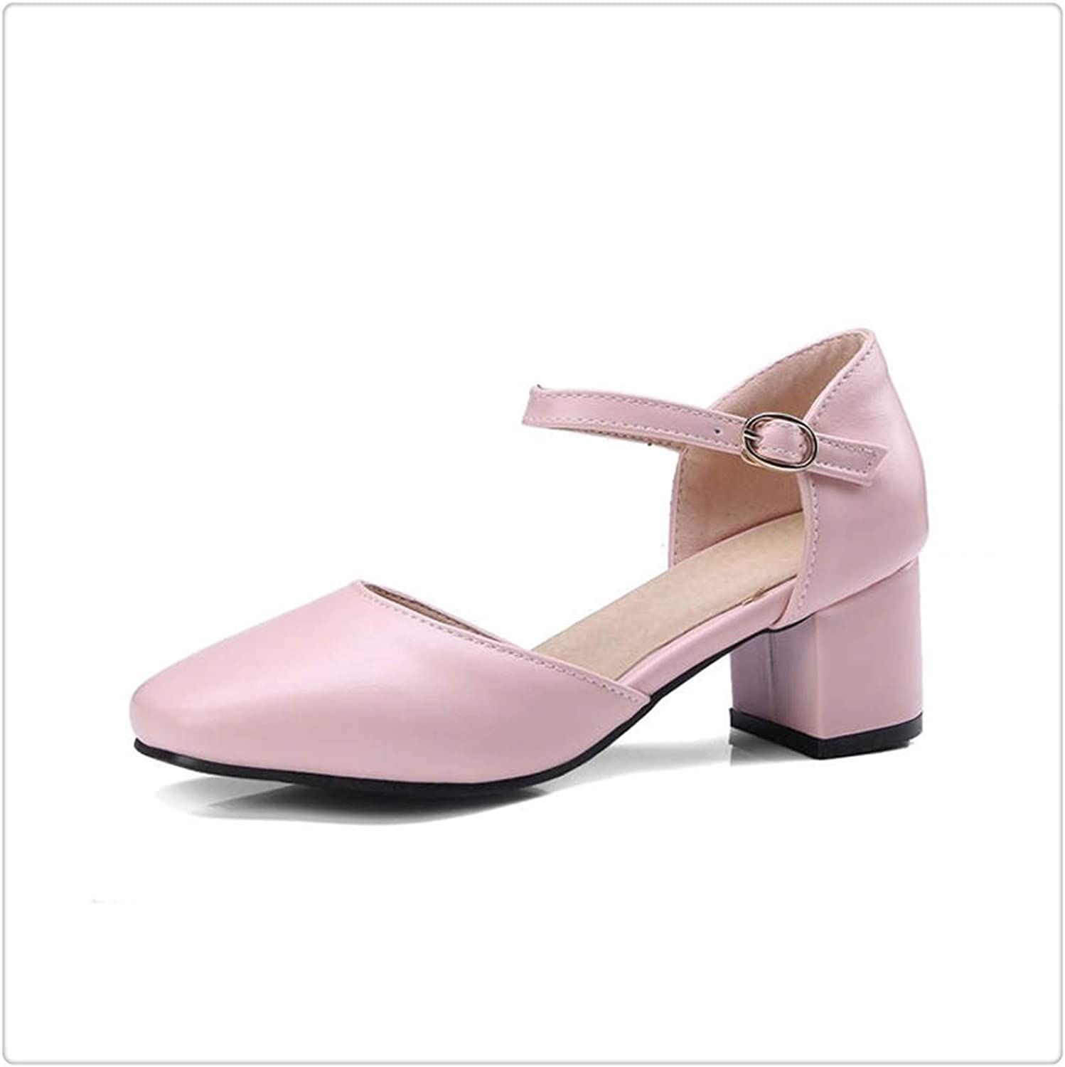 Yyixianma New Plus Size 33-48 Ankle-Strap Summer shoes Women Sandals Fashion Square Heels Office Lady Sandals Woman Pink 10