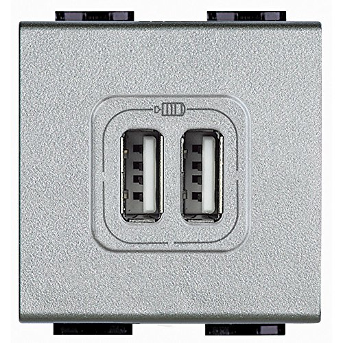 Oplader, 2 USB-aansluitingen voor mobiele telefoon, smartphone, tablet en dergelijke, grijs