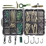 JSHANMEI Carp Fishing Tackle Kit, Include Clips Beads Hooks Tubes Swivels Baiting Terminal Rigs Carp Tackle Box 160pcs